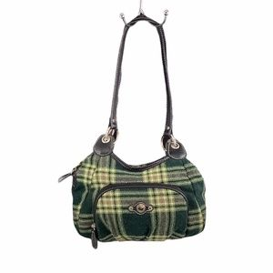 Rossetti Women Green Plaid Vinyl Trim Shoulder Bag